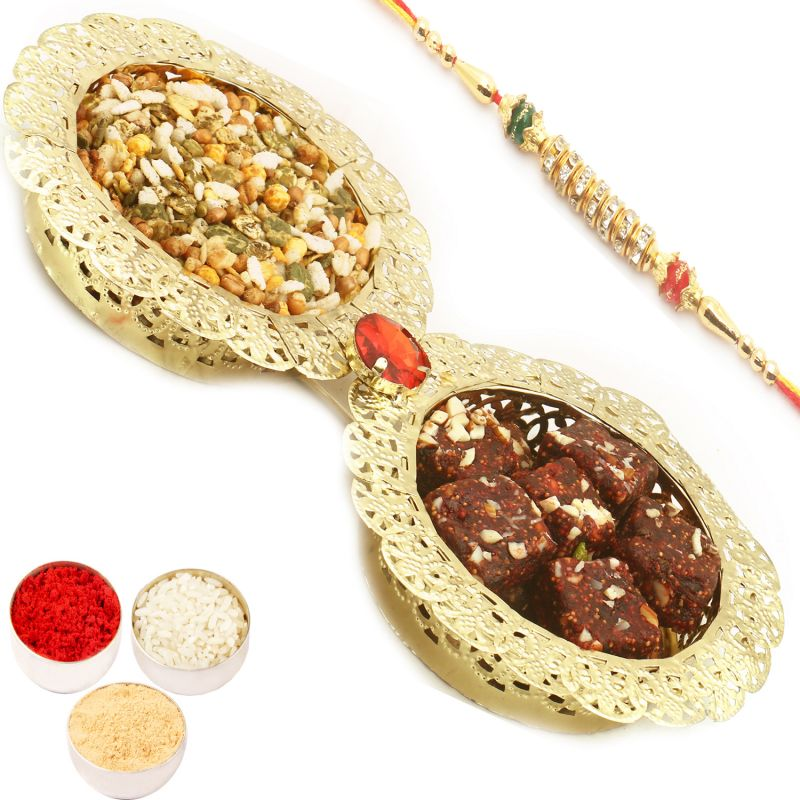 Buy Healthy Hampers - Golden 2 Bowl Dates And Figs Bites And Roasted Namkeen Tray With Diamond Rakhi online