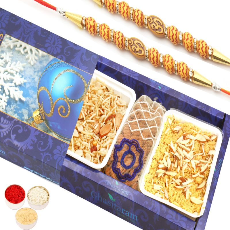 Buy Rakhi Sweet Hampers - Soan Papdi , Namkeen And Almonds Pouch Hamper With 2 Om Rakhis online