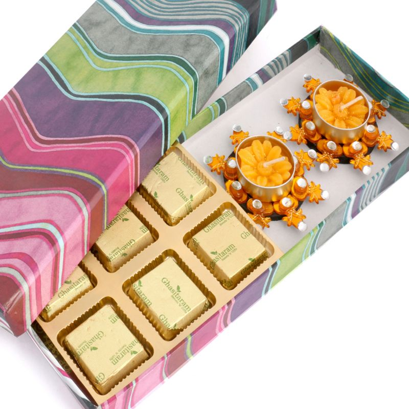 Buy Chocolates- Pink Printed Sugarfree Chocolate Hamper With Orange T-lites online