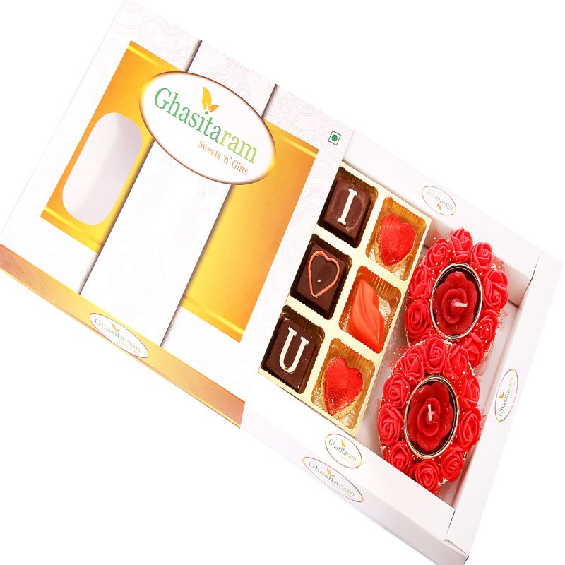 Buy Chocolates-special Valentine Chocolates With Set Of 2 Rose T- Lites online