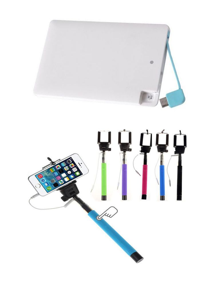 Buy Samsung OEM 2500mah Credit Card Powerbank And Selfie Stick With Aux online