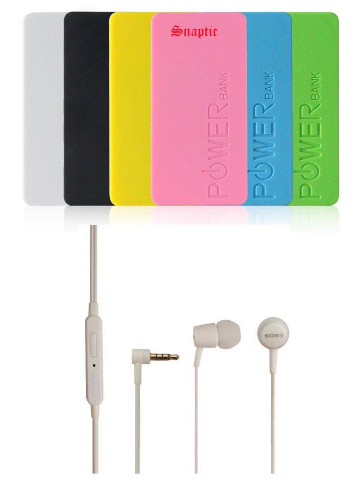Buy 5600mah Universal Powerbank & Sony OEM Mh750 White Headset With Mic online