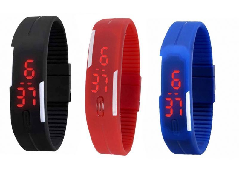 Buy Pack Of 3 Different Color LED Watches online