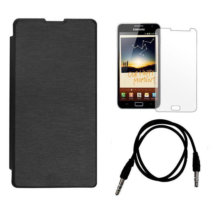 Buy Xolo Q1100 Flip Cover (black) Plus Screen Guard Plus 3.5mm Aux Cable online
