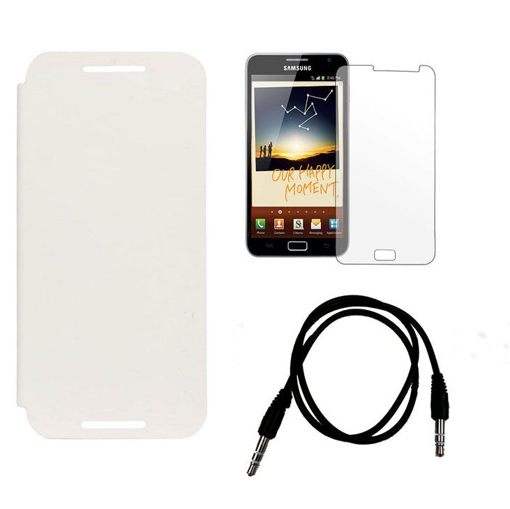 Buy Samsung Galaxy Note 2 N7100 Flip Cover (white) Plus Screen Guard Plus 3.5mm Aux Cable online