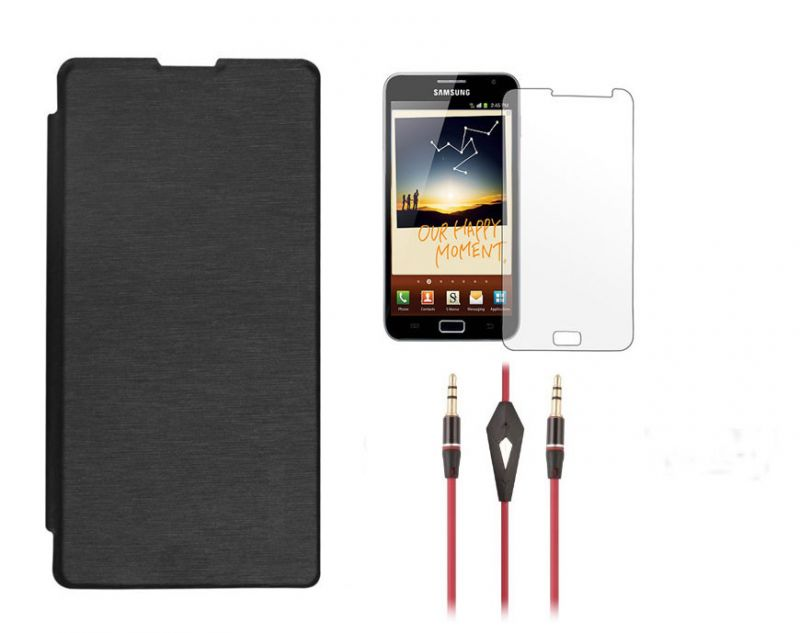 Buy Samsung Galaxy Note 3 4G N9005 Flip Cover (black) Plus Screen Guard Plus 3.5mm Aux Cable With Mic online