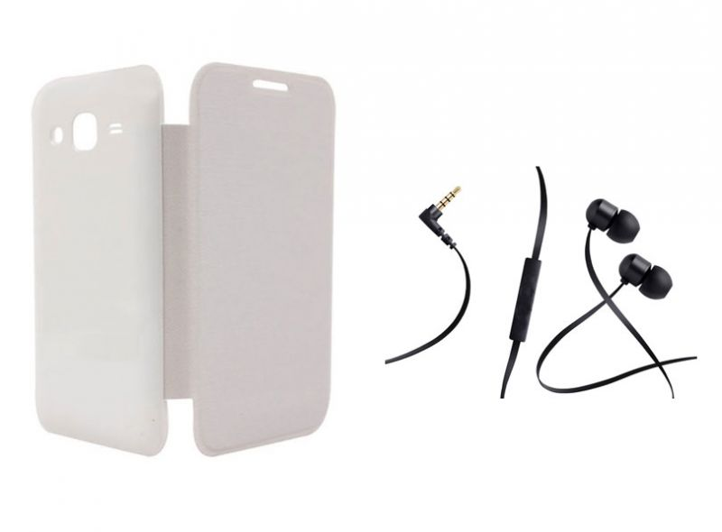 Buy Xolo A600 White Flip Cover With Incredible Smartphone Headset With Mic online