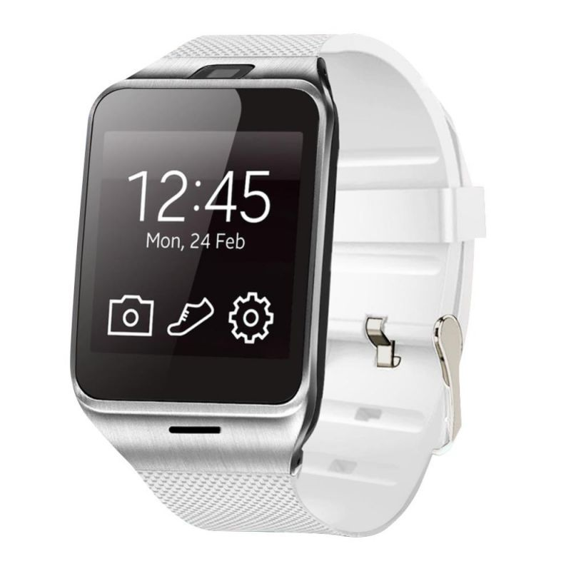 Buy Snaptic Dz09 Bluetooth Sim Enabled GSM Smart Watch - White Silver online