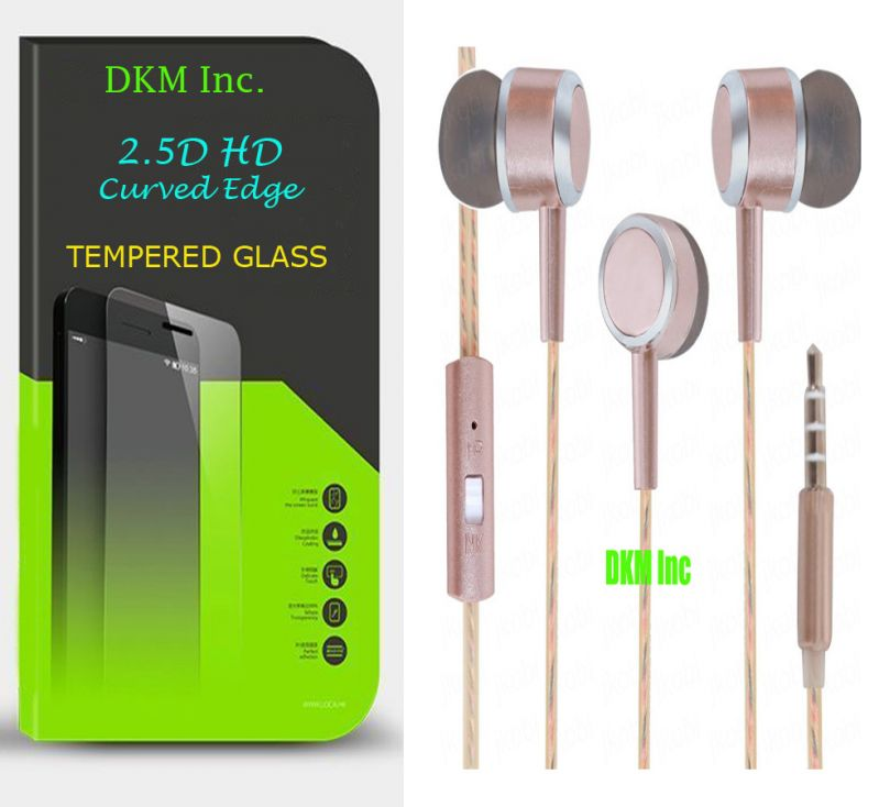 Buy Snaptic 2.5d Curved EDGE HD Tempered Glass And Scented Rose Gold Earphones With Mic For LG K7 online
