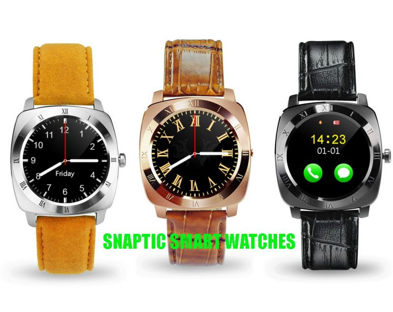 Buy Snaptic X3 Limited Edition Leather Strap GSM Enabled Tf Card Hidden Camera Smart Watch For Ios/android - Assorted Color online