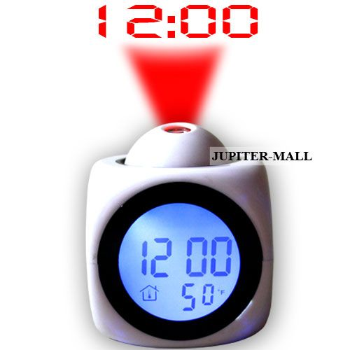 Buy Talking Laser Projector Projection Alarm Table Clock Thermometer -white-01 online
