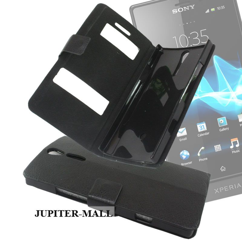 Black Sony Xperia S Lt26i Leather Back Case Cover Skin Flip Pouch - Fsn01