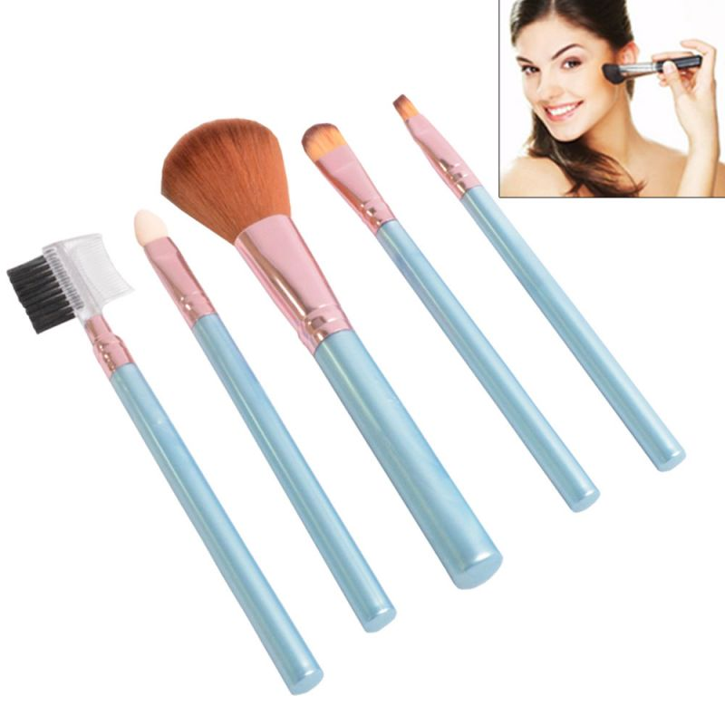 Buy 5 PCs Luxurious Functional Make Up Brush Cosmetic Set Kit Case - 07 online