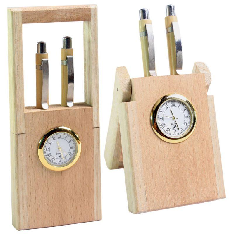 Pen Holder Stand Clock In Wooden Finishing Table Desk