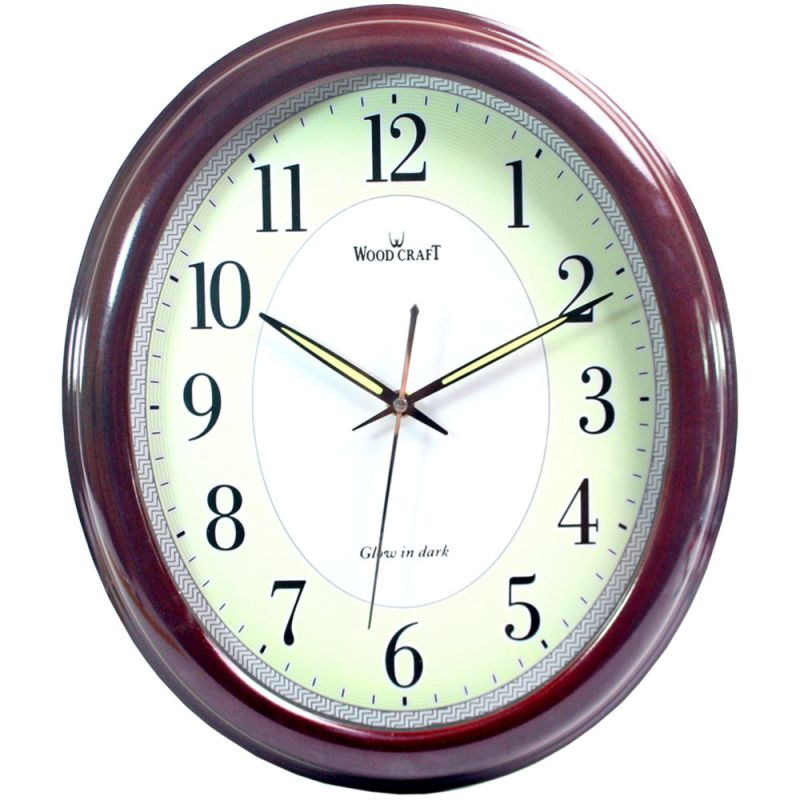Buy 35cm Antique Look Wood Crafts Wooden Wall Radium Clock without Alarm online