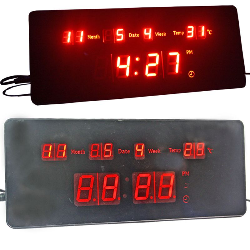 Buy Electric Digital LCD LED Alarm Table Wall Desk Night Clock Thermometer online