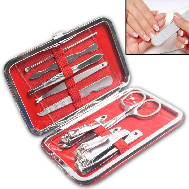 Buy 9in1 Nail Art Clipper Pedicure Manicure Tweezer Cutter Earpick Tool Set -17 online