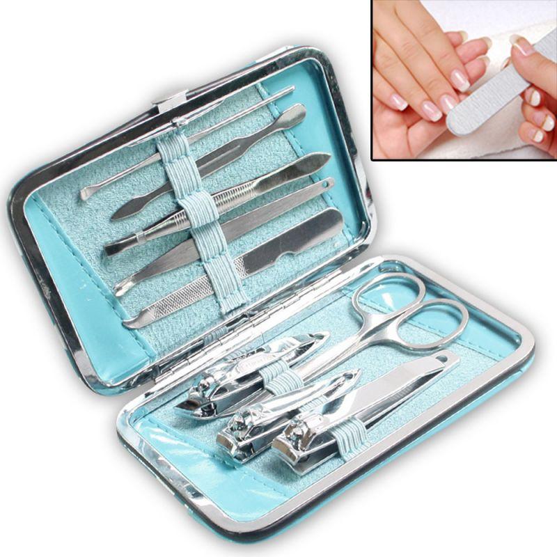 Buy 9in1 Nail Art Clipper Pedicure Manicure Tweezer Cutter Earpick Tool Set -19 online