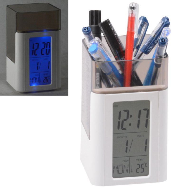 Buy Digital Voice Control Back-Light LCD Alarm Date Temperature Pen Holder Clock online