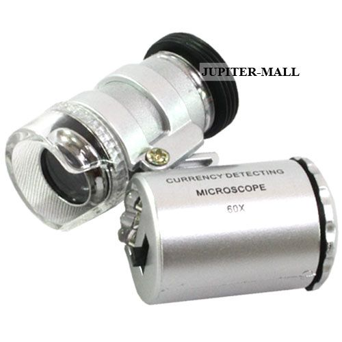 Buy 60X LED Pocket Illuminated Magnifier Magnifying Glass Microscope online