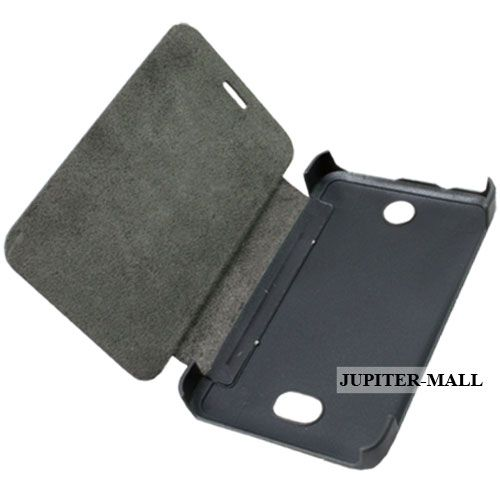 Buy Black Nokia Asha 501 Leather Back Case Cover Skin Flip Pouch - Fn03 online