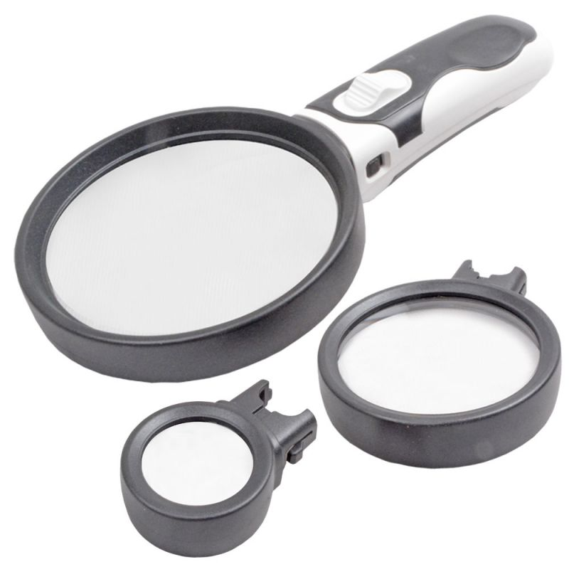 Buy 2.5X90Mm, 5X75Mm 16X37Mm 2-Led Checker Magnifier Magnifying Glass Microscope online