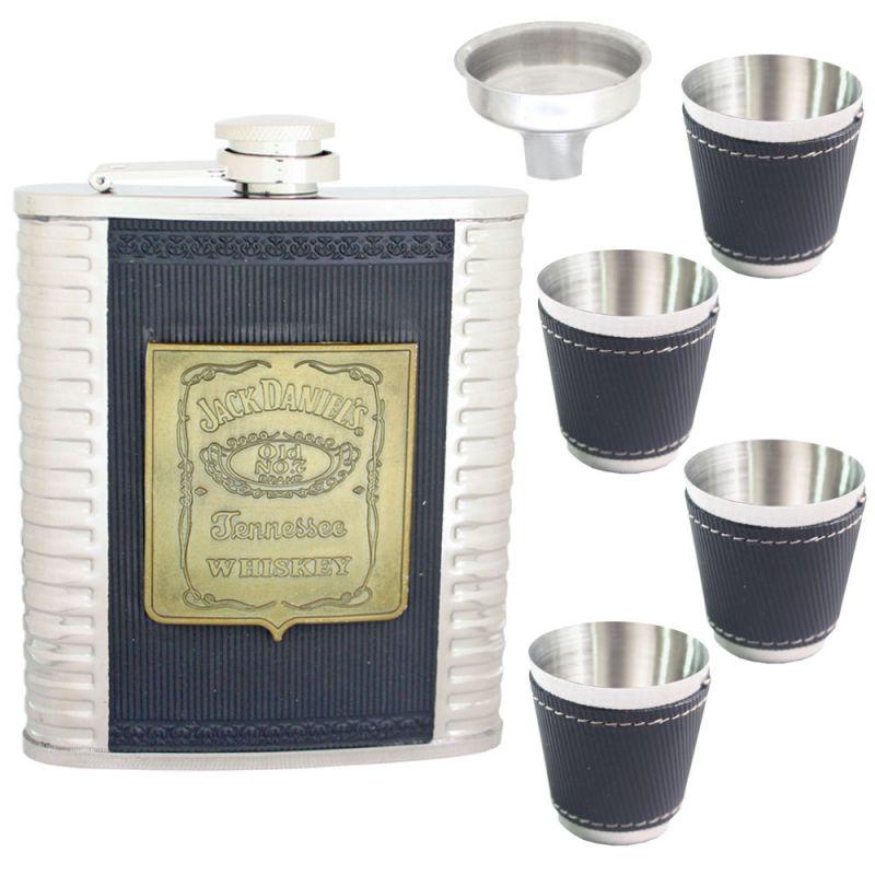 Buy 07 oz STAINLESS STEEL Drinks Hip Pocket Wine Flask Screw Cap Cups & Funnel online