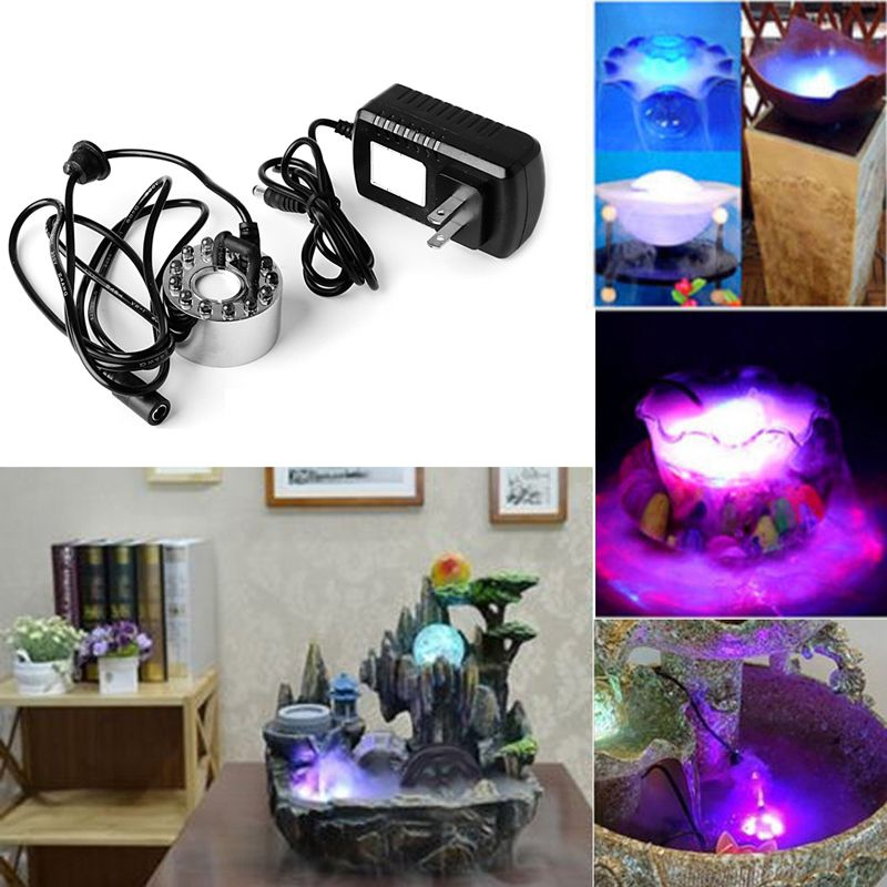 Buy 12 LED Mist Maker Aquarium Decor Fog Smoke Machine Water Fountain Fogger Water Fountain Pond Light (code - Fo Gr 01 A) online