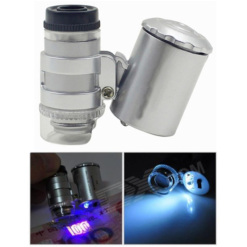 Buy UV Money Checker LED Illuminated Magnifier Magnifying Glass Microscope 60X online