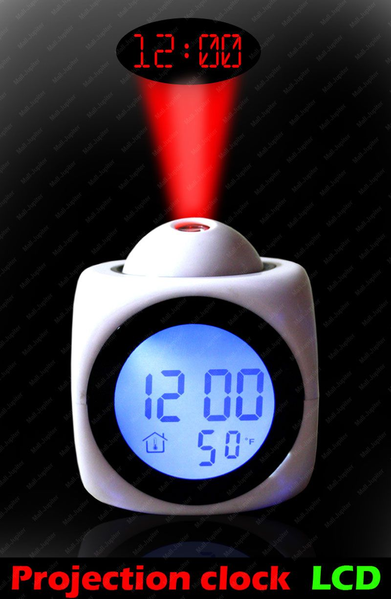 Buy Talking Laser Alarm Table Clock Thermometer White Online Best Close