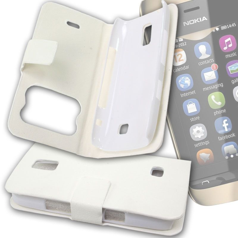 pretty nice 9d790 07aec White Leather Back Case Cover Skin Flip Pouch For Nokia Asha 308 -fn02