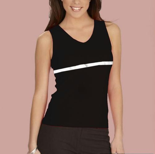 Buy Black Sleeveles Top White Glowing Ribbon Strip online
