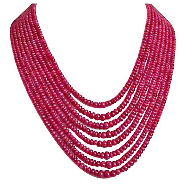 Buy Surat Diamond 365 Cts 8 Line Real Ruby Beads Necklace 365 Cts Ruby Necklace online