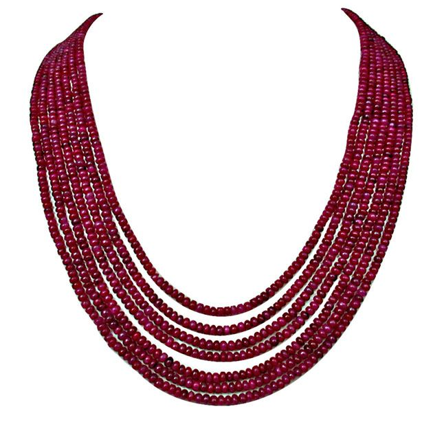 Buy Surat Diamond 368 Cts 7 Line Real Ruby Beads Necklace 368 Cts Ruby Necklace online