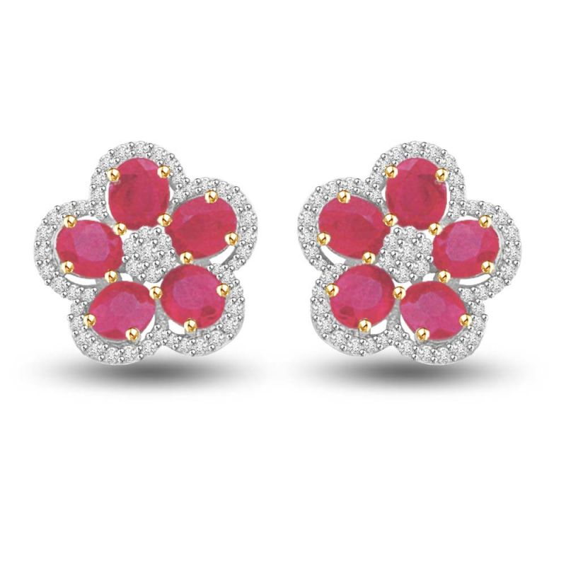 Buy Surat Diamond Floral Tristar Ruby & Diamond Two Tone Gold Earrings For My Ladylove Er423 online