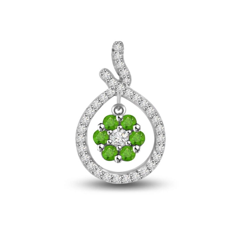 Buy Surat Diamond Glamour Of Bride 0.47 Tcw Emerald And Diamond Pendant In White Gold P1154 online