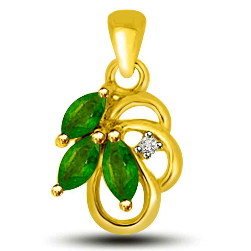 Buy Surat Diamond Stunning Green Drops Emerald And Diamond Pendant In Yellow Gold P1162 online