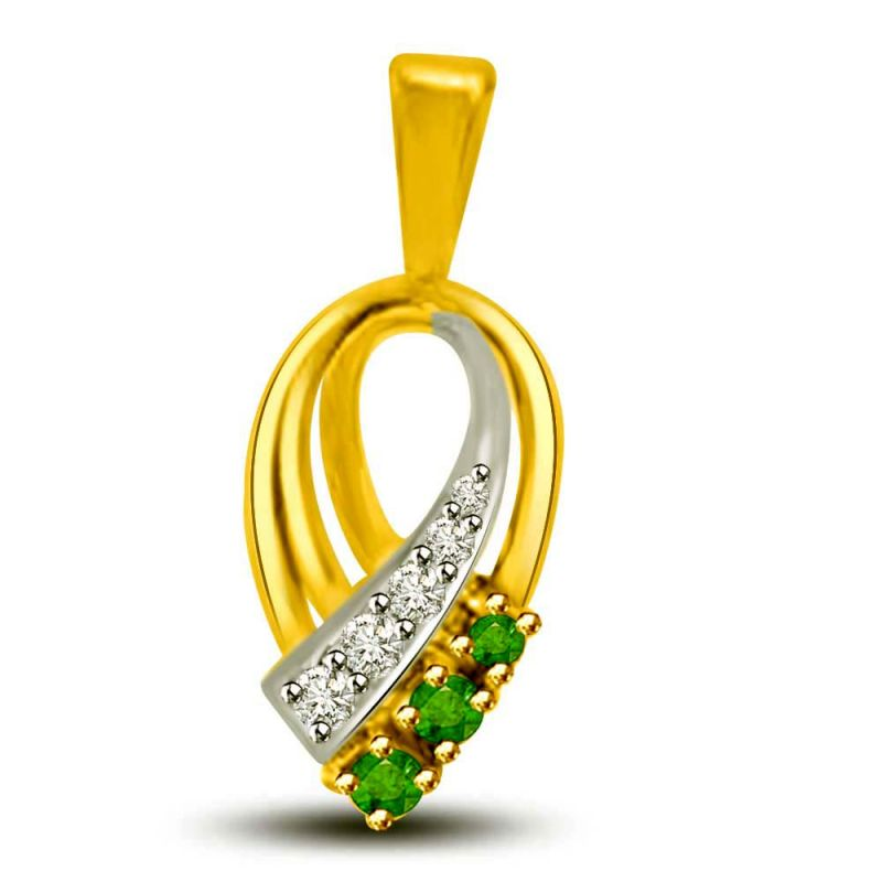 Buy Surat Diamond Torch Of Purity Beautiful Two Tone Emerald And Diamond Pendant P1164 online