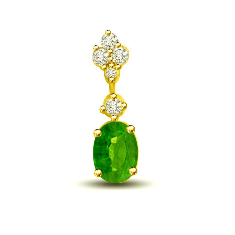 Buy Surat Diamond Holding Glamour 0.26 Tcw Emerald And Diamond Pendant In 18kt Gold P1168 online