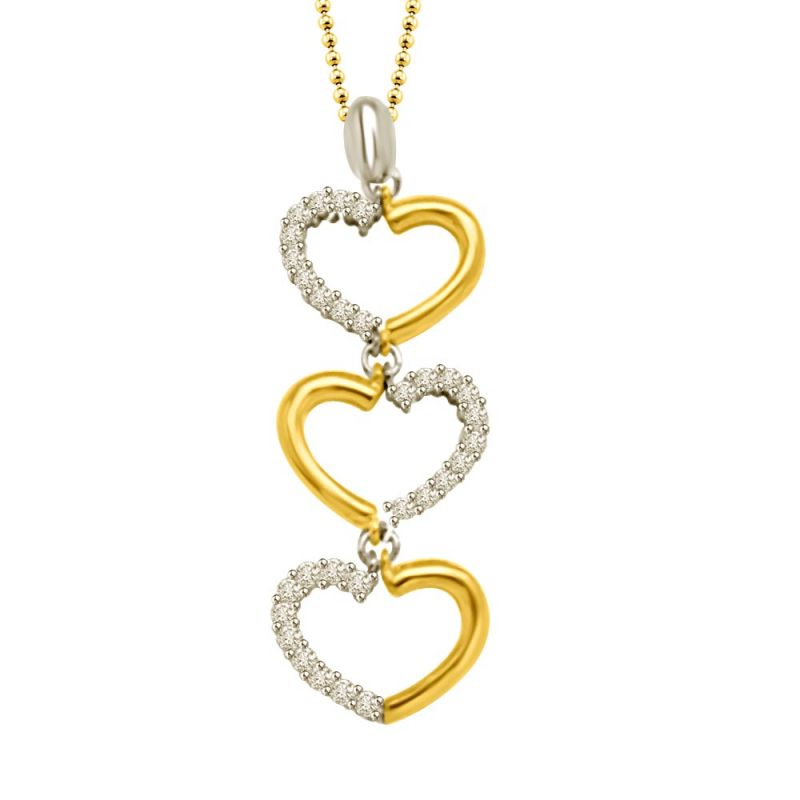 Buy 3 Hearts Two Tone Diamond & 18kt Gold Pendant P1335 online