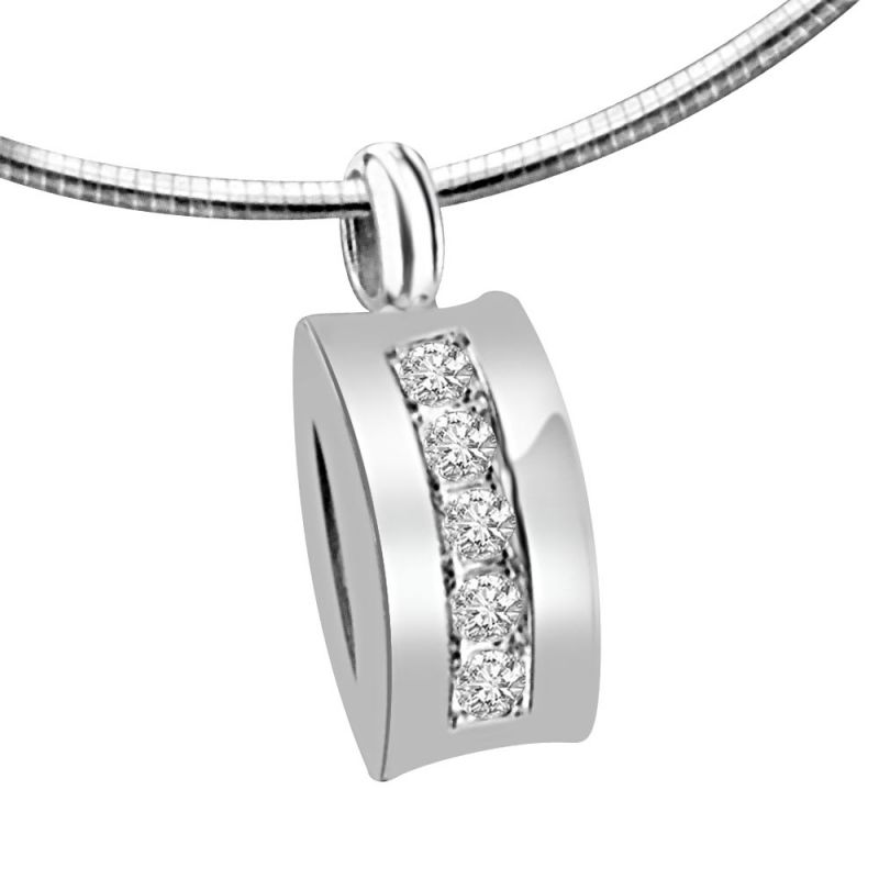 Buy Surat Diamond Dazzling Attraction 0.10ct White Gold & 5 Diamonds In Row Pendant For Your Love P1359 online