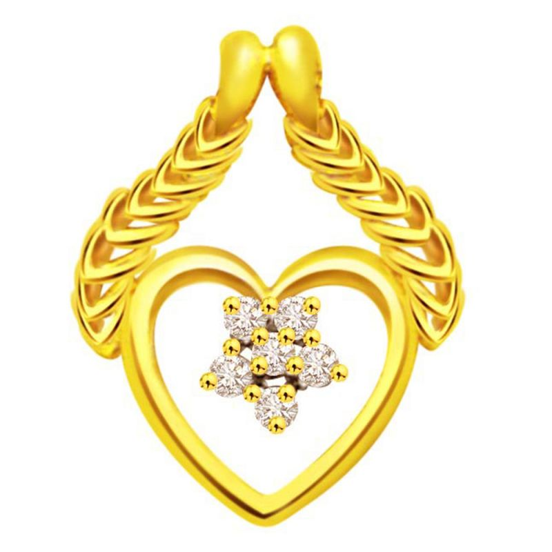 Buy Surat Diamond A Heart To Flatter 0.06ct Diamond Yellow Gold Pendant P470 online