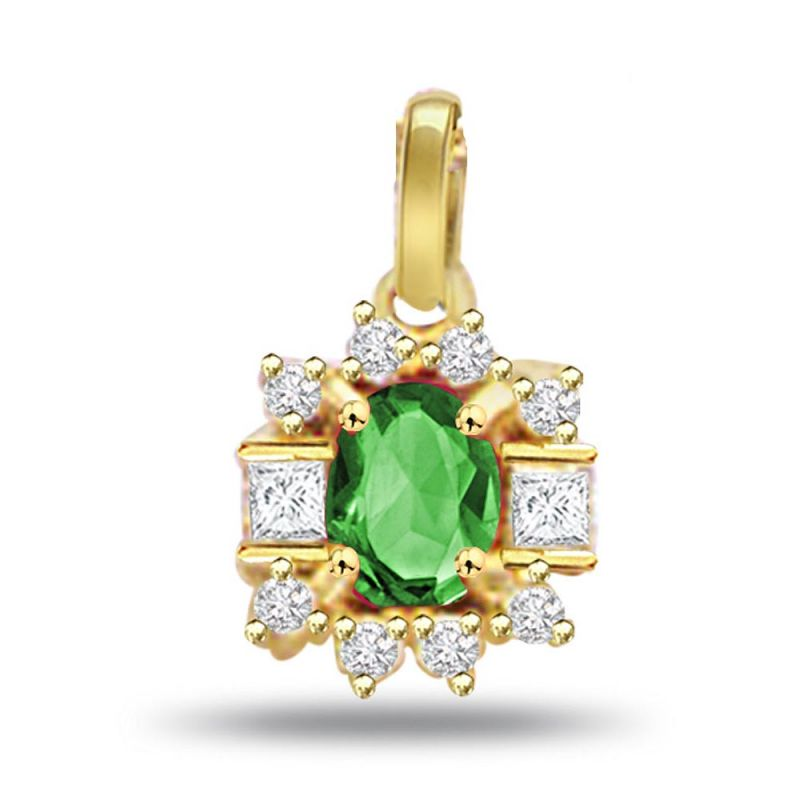 Buy Surat Diamond Evergreen Love - 0.20ct Diamond & Emerald Gold Pendant P507 online