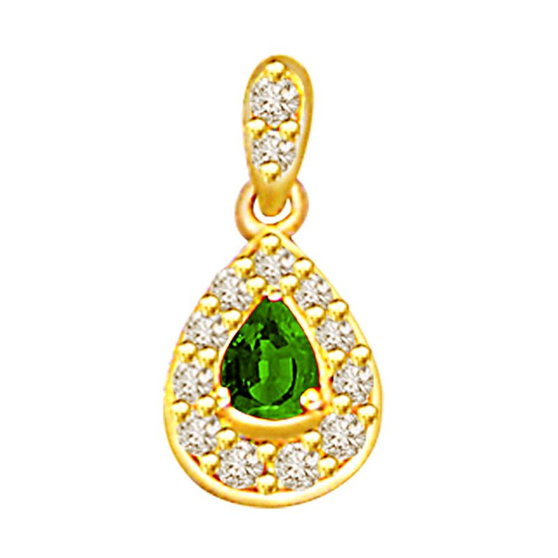 Buy Surat Diamond 0.26ct Diamond & Emerald Gold Pendant P508 online