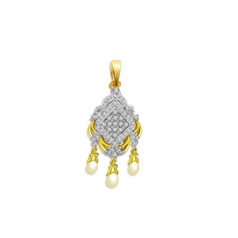 Buy Surat Diamond Pearly Chandelier Delight - 0.35 Cts Diamond & Drop Pearl 18k Pendant P659 online