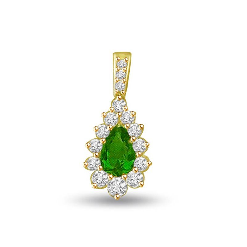 Buy Surat Diamond Pear Emerald 0.15 Cts Diamond 18k Pendant P692 online