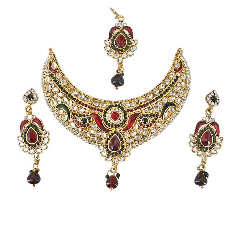 Buy Surat Diamond Joyful Delight - Multicolour Polki & Stone Necklace Set Ps229 online