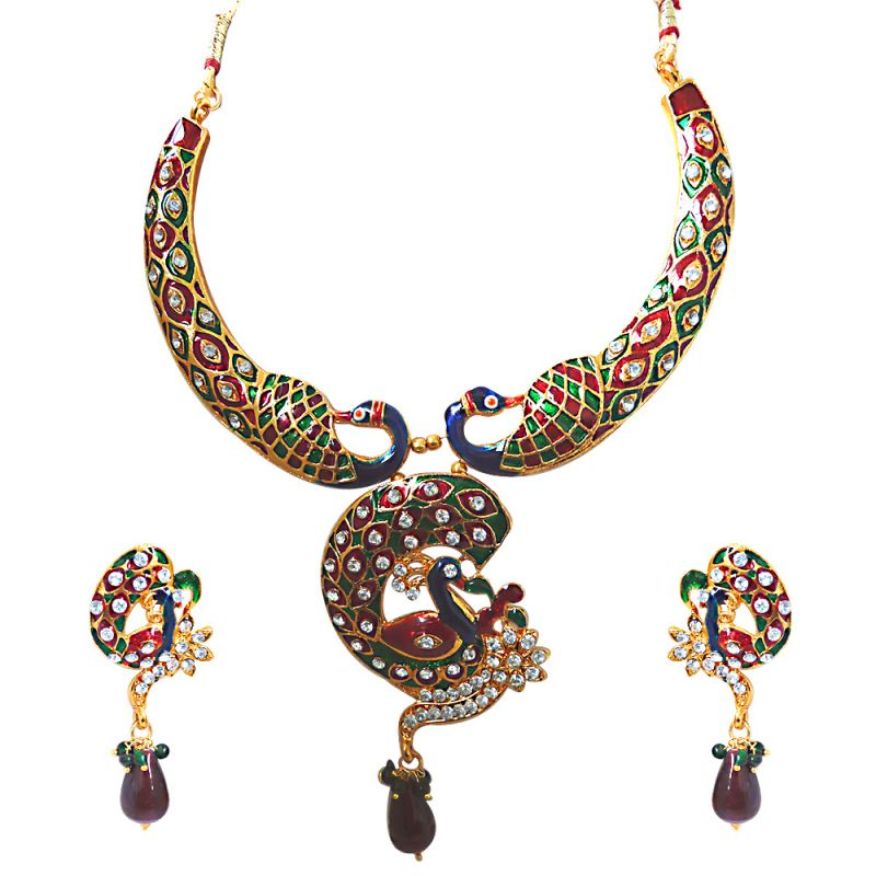 Buy Surat Diamond Mesmerising Peacocks - Necklace & Earring Set Ps236 online