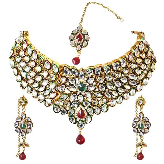 57d82fd98 Surat Diamond Traditional Red & Green Coloured Stone & Kundan Gold Plated Necklace  Earring & Manga Tikka Set For Women Ps271