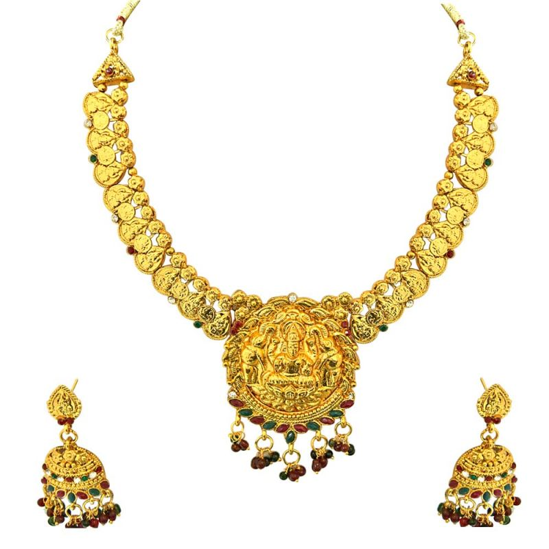 Surat Diamond Traditional Gold Plated Necklace Bali Earring Sitashiimitation Fashion Jewellery Pearl Temple Coin